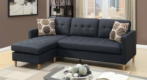 Homeroots Dark Gray Polyfiber 2pc Sectional with Pillows OCN-316519