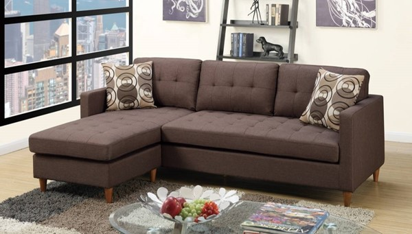 Homeroots Brown Polyfiber 2pc Sectional with Pillows OCN-316520