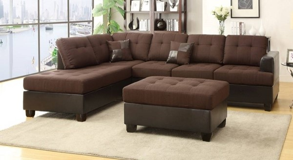 Homeroots Chocolate Brown 3pc Sectional with Ottoman OCN-316522