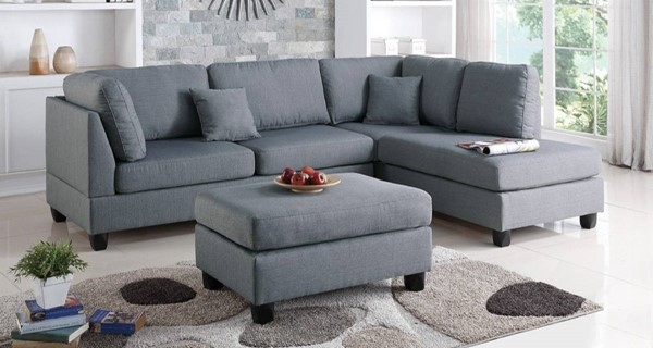 Homeroots Gray Linen Fabric 3pc Sectional with Ottoman OCN-316525
