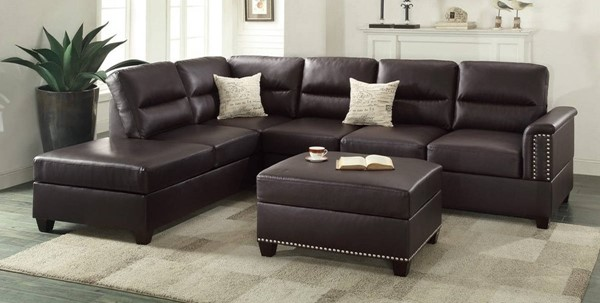 Homeroots Espresso Brown Bonded Leather 3pc Sectional OCN-316527