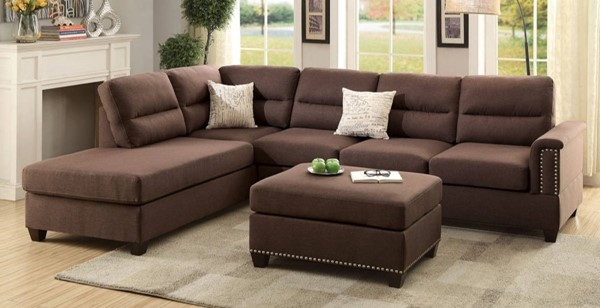 Homeroots Choco Brown 3pc Sectionals with Ottoman OCN-316528-SEC-VAR