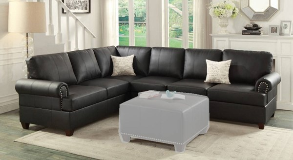 Homeroots Black Bonded Leather 2pc Reversible Sectional OCN-316534