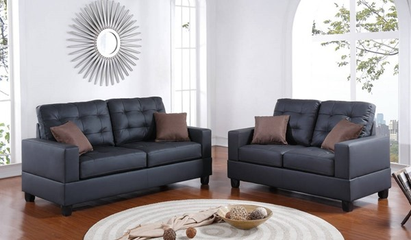 HomeRoots Black 2pc Sofa and Loveseat Set with Pillows OCN-316536