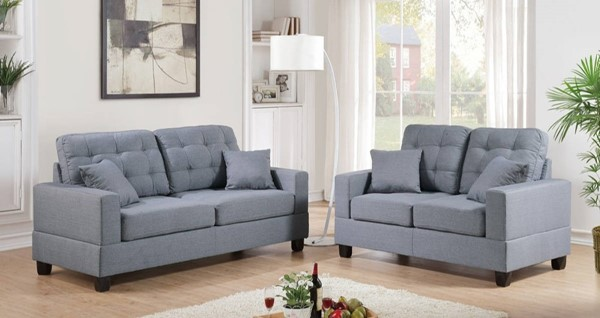 HomeRoots Gray 2pc Sofa and Loveseat Set with Pillows OCN-316538