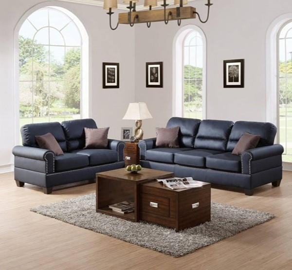 HomeRoots Black Bonded Leather 2pc Sofa and Loveseat Set with Pillows OCN-316541