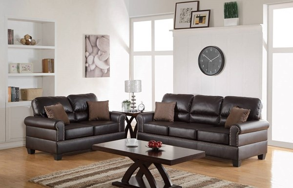 HomeRoots Brown Bonded Leather 2pc Sofa and Loveseat Set with Pillows OCN-316542