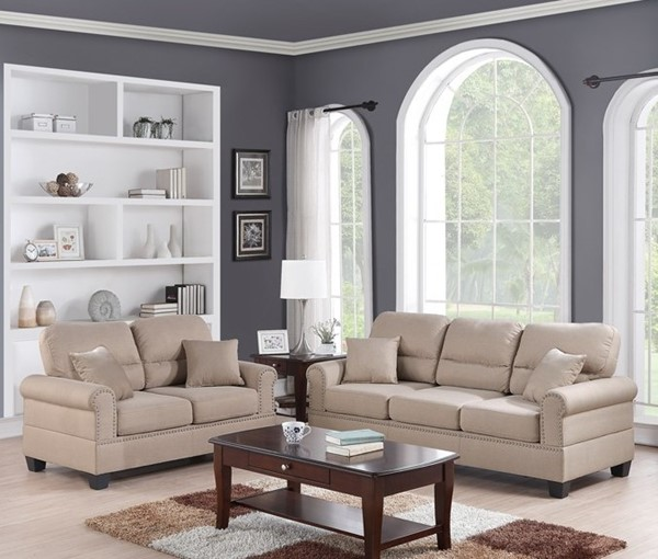 HomeRoots Beige Fabric Plywood 2pc Sofa and Loveseat Set with Pillows OCN-316543