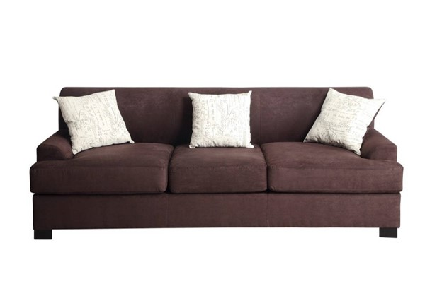HomeRoots Choco Brown Fabric 3 Seat Sofa with 2 Pillows OCN-316549