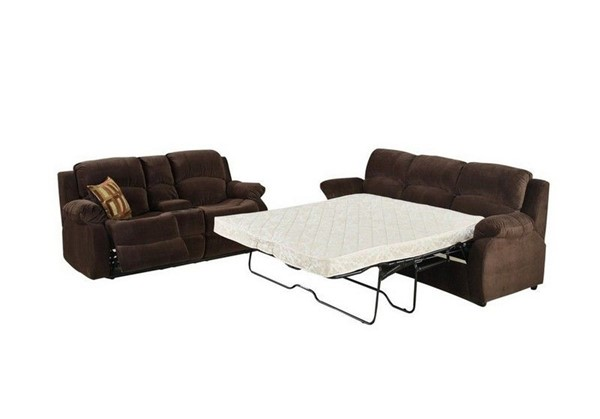 HomeRoots Chocolate Polyester Fabric 2pc Queen Sofa and Loveseat with Console OCN-318714