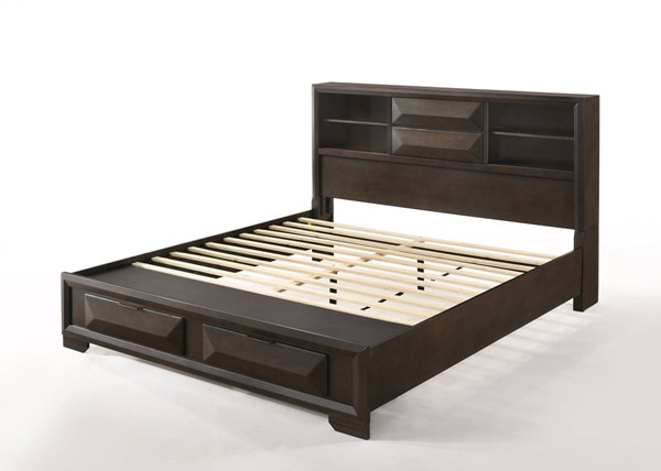 HomeRoots Espresso Rubberwood Storage Queen Bed OCN-318723