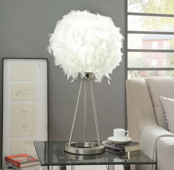 HomeRoots Sand Feather Nickel Metal Table Lamp OCN-318780