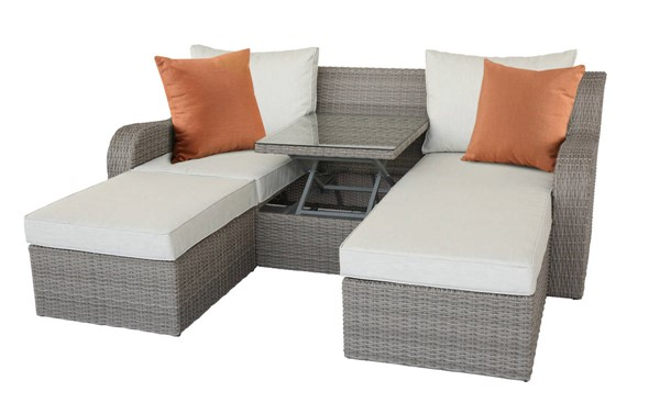 Homeroots Beige Fabric Gray Wicker 3pc Patio Sectional and Ottoman Set OCN-318796