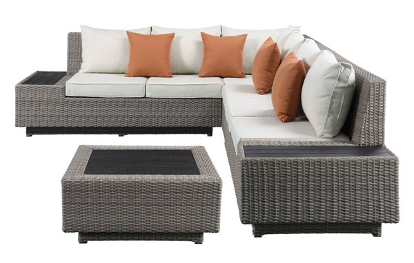 Homeroots Beige Fabric Gray Wicker Patio Sectional and Cocktail Table OCN-318798