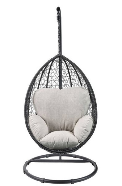 Homeroots Beige Fabric Black Wicker Patio Swing Chair with Stand OCN-318800