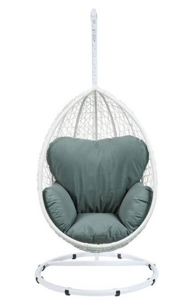 Homeroots Green Fabric White Wicker Patio Swing Chair with Stand OCN-318801