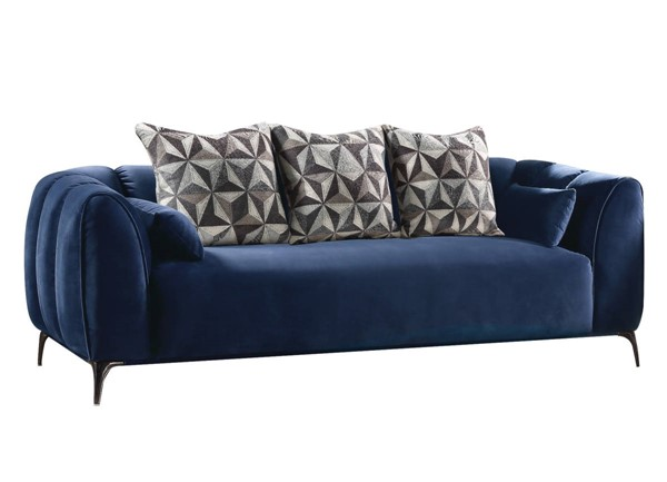 HomeRoots Blue Velvet Metal Sofa OCN-318802