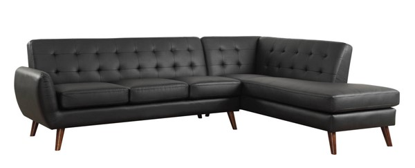 Homeroots Black Leatherette Tufted Sectional Sofa OCN-318827