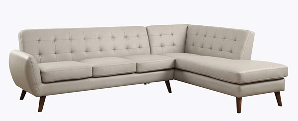 Homeroots Gray Leatherette Tufted Sectional Sofa OCN-318828