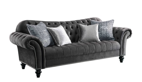 HomeRoots Dark Gray Fabric Wood Sofa OCN-318830