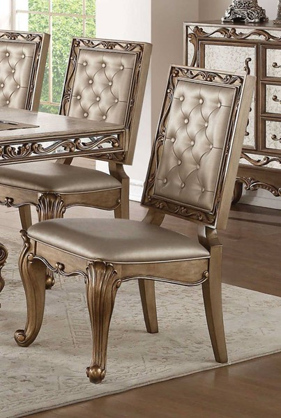 2 Homeroots Champagne Leatherette Tufted Side Chairs OCN-318892