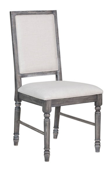 2 Homeroots Light Cream Linen Weathered Gray Side Chairs OCN-318900