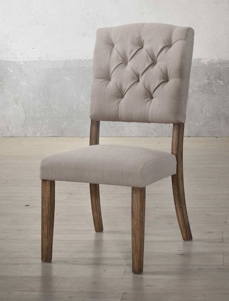 2 Homeroots Cream Linen Weathered Oak Side Chairs OCN-318903