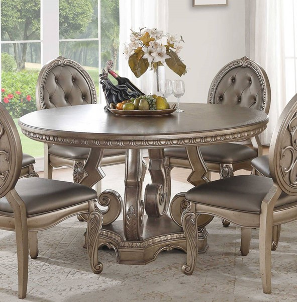 Homeroots Antique Champagne Round Dining Table OCN-318904