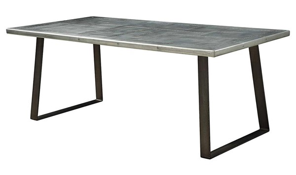Homeroots Aluminum Gunmetal Dining Table OCN-318910