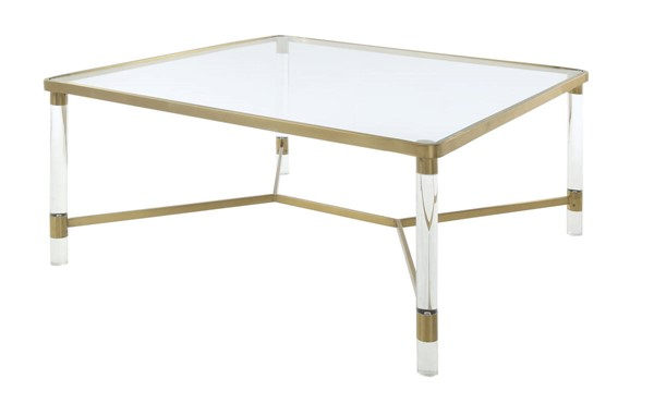 Homeroots Gold Stainless Steel Glass Top Coffee Table OCN-318952