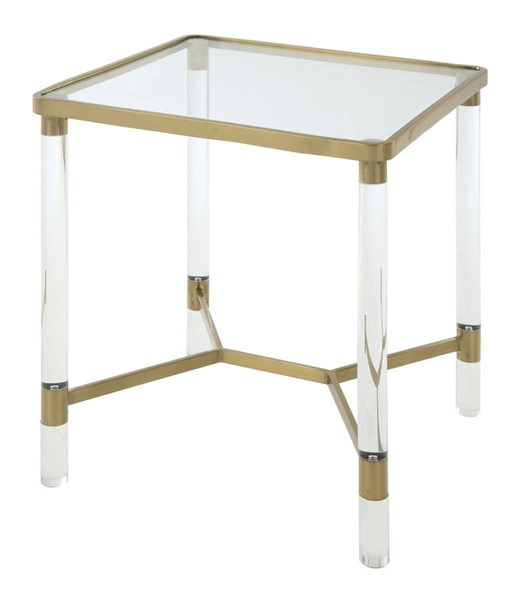 Homeroots Gold Stainless Steel Glass Top End Table OCN-318953