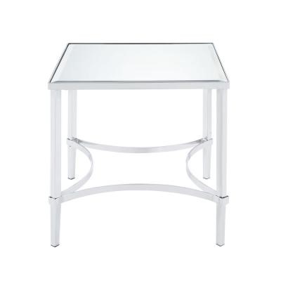 Homeroots Chrome Iron Mirror Top End Table OCN-318957