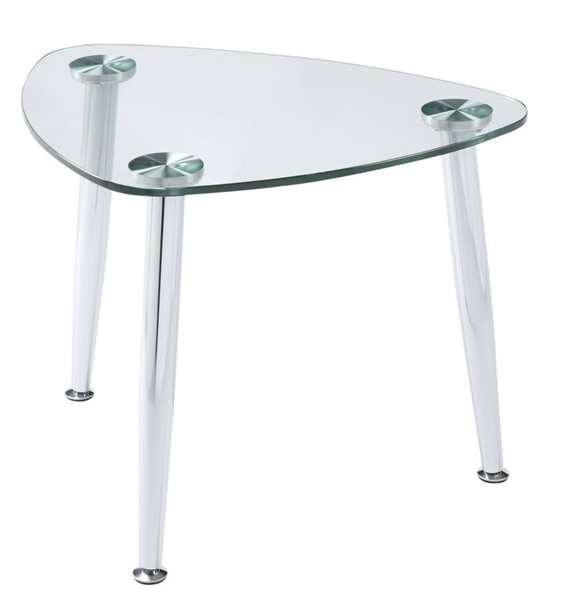 Homeroots Chrome Clear Glass Top End Table OCN-318982