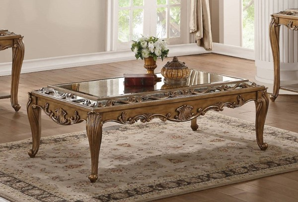 Homeroots Antique Gold Mirror Top Coffee Table OCN-318985