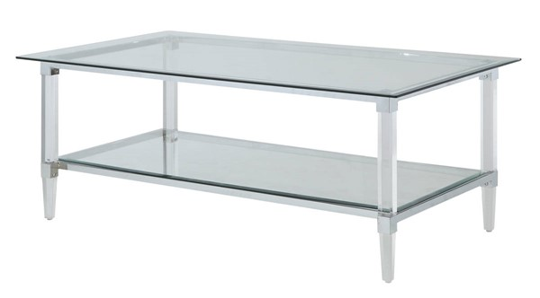 Homeroots Clear Acrylic Glass Top Coffee Table OCN-318988