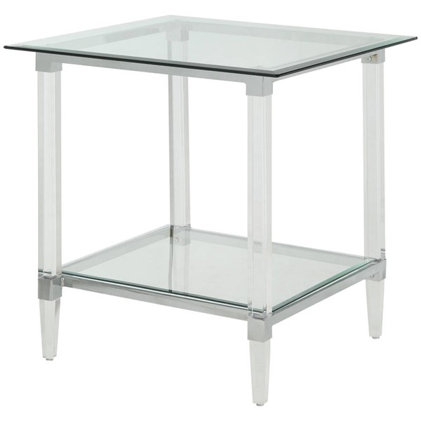 Homeroots Clear Acrylic Glass Top End Table OCN-318989