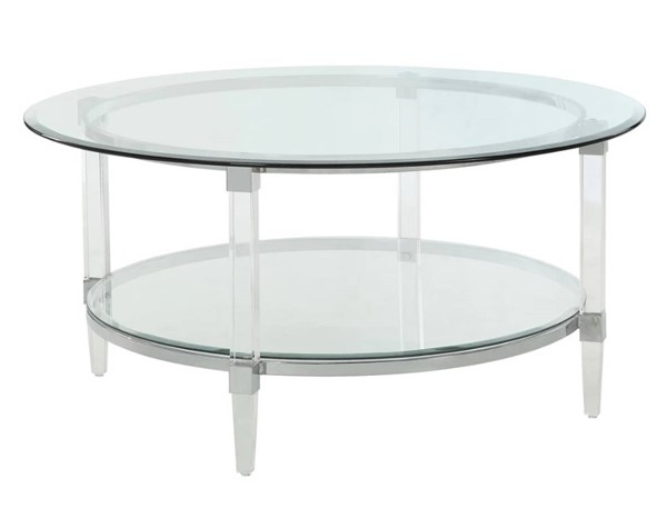 Homeroots Clear Acrylic Glass Top Round Coffee Table OCN-318990