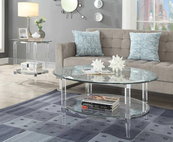3pc Round Coffee Table Set, Round Acrylic Coffee Table