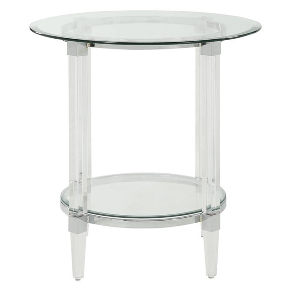 Homeroots Clear Acrylic Glass Top Round End Table OCN-318991