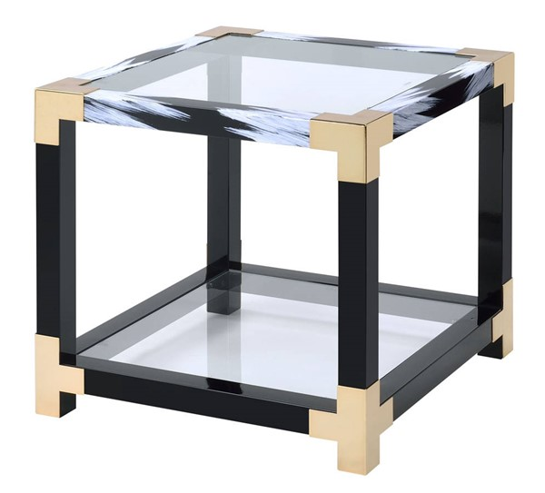 Homeroots Black Clear Glass Top End Table OCN-318999