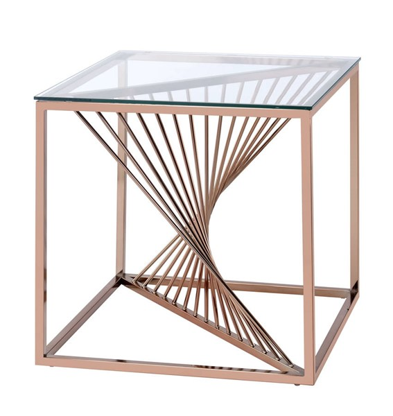 Homeroots Brushed Copper Clear Glass Top End Table OCN-319001