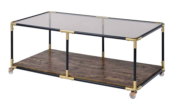 Homeroots Black Gold Smoky Glass Top Coffee Table OCN-319002