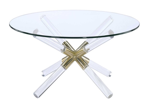 Homeroots Clear Glass Top Round Coffee Table OCN-319004