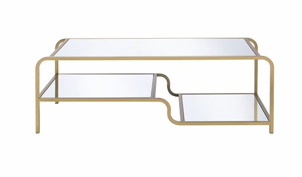 Homeroots Gold Metal Clear Glass Top Coffee Table OCN-319007