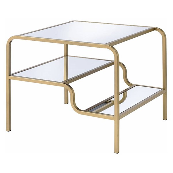 Homeroots Gold Metal Clear Glass Top End Table OCN-319008