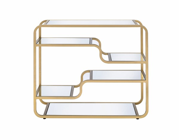 Homeroots Gold Metal Clear Glass Top Sofa Table OCN-319009