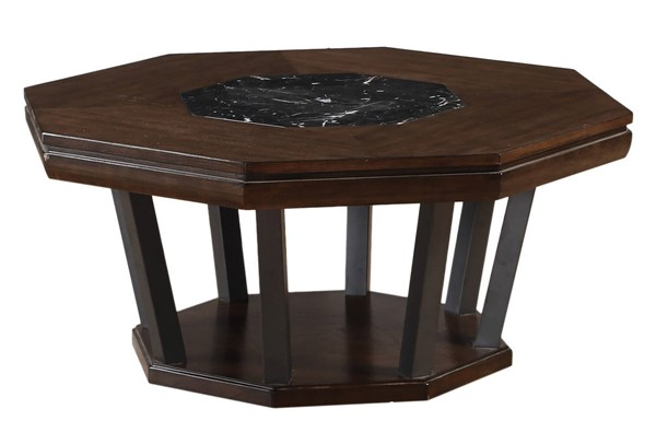 Homeroots Tobacco Black Marble Top Coffee Table OCN-319027