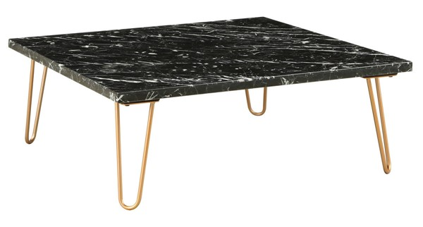 Homeroots Gold Metal Marble Top Square Coffee Table OCN-319157