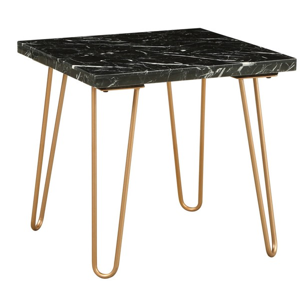 Homeroots Gold Metal Marble Top End Table OCN-319158
