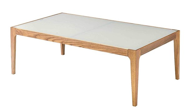 Homeroots Natural Wood Frost Glass Top Coffee Table OCN-319171
